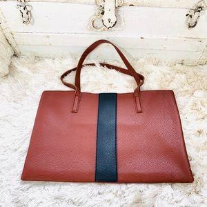 NWOT Vince Camuto Black Stripe Cognac Leather Tote